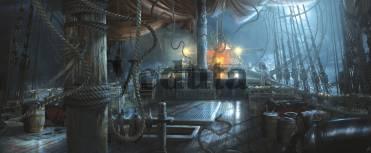 Фотообои, фреска Палуба пиратского корабля ночь, арт. 9195