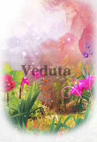 Фотообои, фреска Сказочные цветы на поляне, арт. 9290