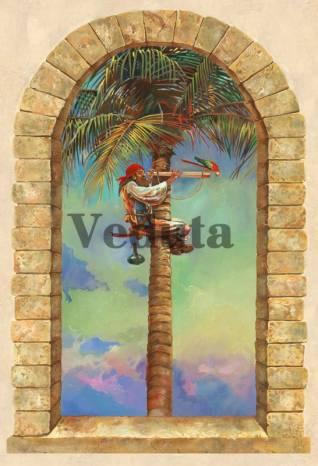 Фотообои, фреска Пират на пальме, арт. 9540