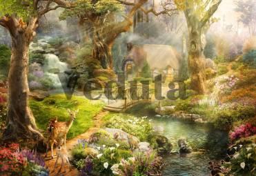 Фотообои, фреска Олененок в сказочном лесу, арт. 9721