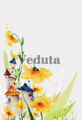 Фотообои, фреска Цветы сказочные домики, арт. ID10739