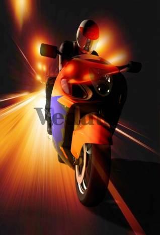 Фотообои, фреска Мотоциклист в ночи, арт. ID13190