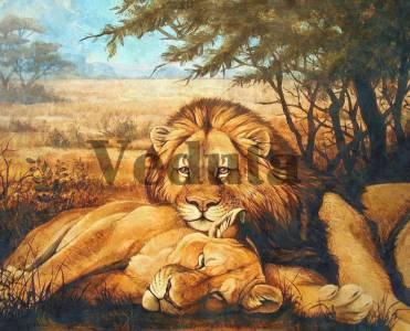 Фотообои, фреска Львы на отдыхе, арт. 10075