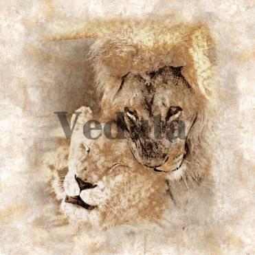 Фотообои, фреска Львиная нежность, арт. 3284