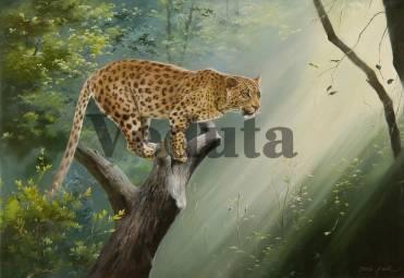 Фотообои, фреска Леопард на ветке, арт. 3354