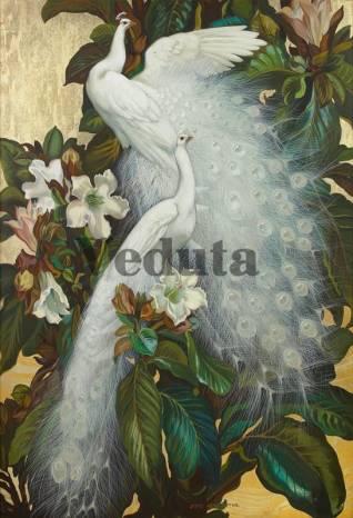Фотообои, фреска Белые павлины, арт. 3364