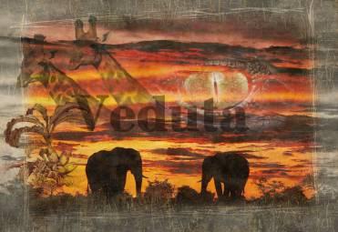 Фотообои, фреска Африканский коллаж, арт. 7036