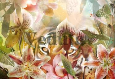 Фотообои, фреска Коллаж тигр в цветах, арт. 7127