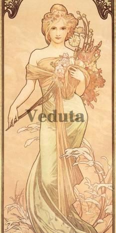 Фотообои, фреска Женщина с цветами Альфонс Муха, арт. 3155