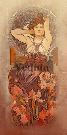 Фотообои, фреска Аметист Альфонс Муха, арт. 3307