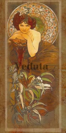 Фотообои, фреска Изумруд Альфонс Муха, арт. 3309