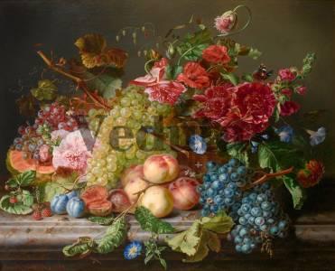 Фотообои, фреска Фрукты виноград цветы, арт. 2149