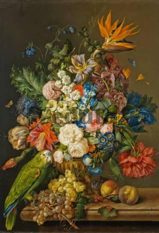 Фотообои, фреска Попугай с цветами, арт. 2228