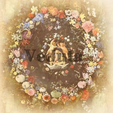 Фотообои, фреска Ангелы в кругу цветов, арт. 5189