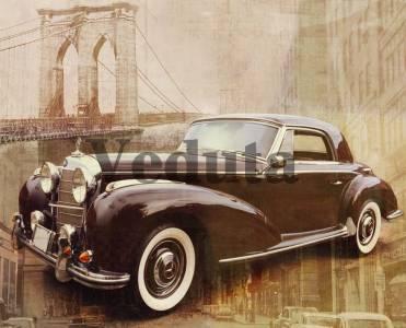 Фотообои, фреска Ретро автомобиль у моста, арт. A0130