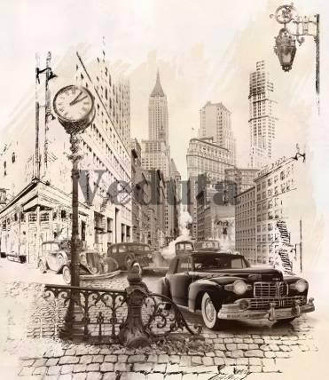 Фотообои, фреска Старая улица Америки, арт. 6336