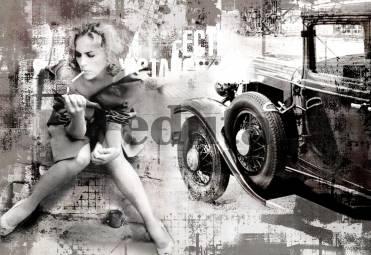 Фотообои, фреска Девушка и ретро автомобиль, арт. 7043