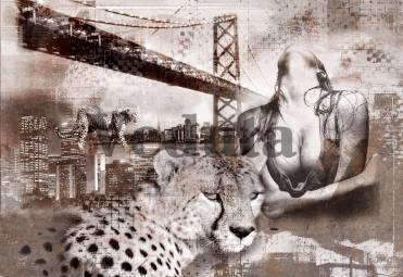 Фотообои, фреска Коллаж девушки и леопарда, арт. 7044