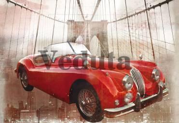 Фотообои, фреска Красный ретро автомобиль, арт. 7045