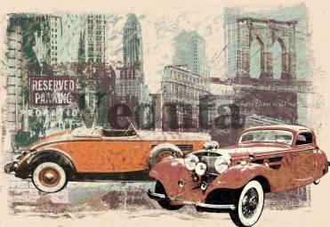 Фотообои, фреска Ретро автомобили, арт. 7050
