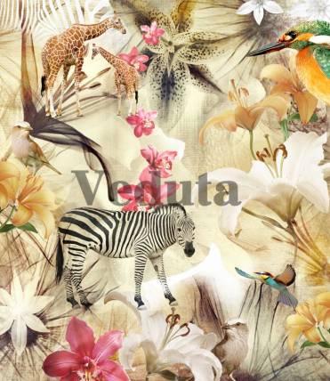 Фотообои, фреска Коллаж с цветами и животными, арт. 7138