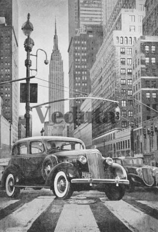 Фотообои, фреска Ретро авто в Нью Йорке, арт. 7152