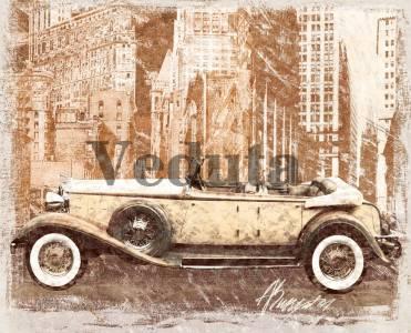 Фотообои, фреска Коллаж с кабриолетом, арт. A0124