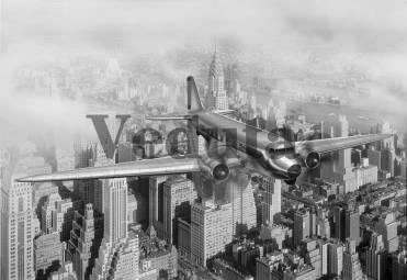 Фотообои, фреска Самолет над Нью Йорком, арт. ID12143