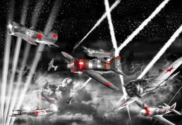 Фотообои, фреска Советские самолеты ночной бой, арт. 7166