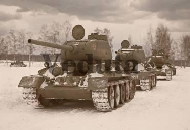 Фотообои, фреска Танковая колонна, арт. ID13191