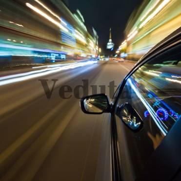 Фотообои, фреска Скорость ночная улица, арт. ID13311