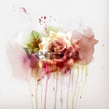 Фотообои, фреска Роза акварель, арт. ID12801