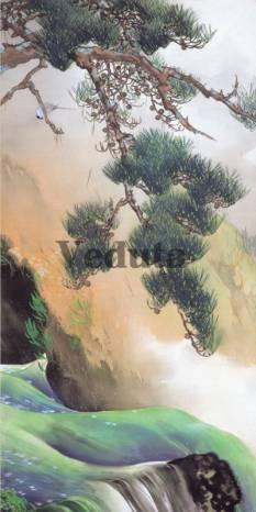 Фотообои, фреска Ветка над горной рекой, арт. ID135681
