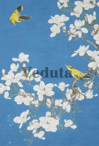 Фотообои, фреска Птицы белые цветы, арт. ID135685