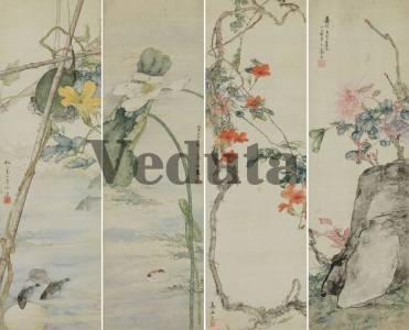 Фотообои, фреска Китайский цветочный мотив, арт. ID135688