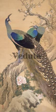 Фотообои, фреска Павлины на ветке, арт. ID135691