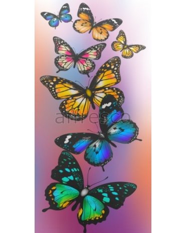 Фотообои, фреска Разноцветные бабочки, арт. 7192