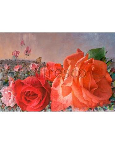 Фотообои, фреска Нарисованные розы, арт. 2239