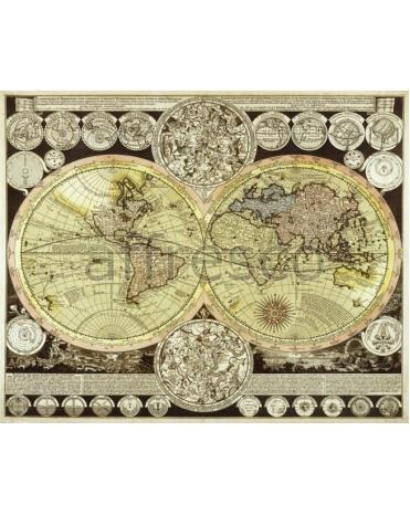 Фотообои, фреска Старинная карта с континентами, арт. 0023