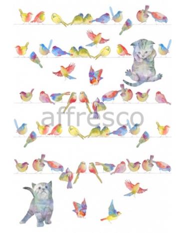 Фотообои, фреска Птицы и котята, арт. 9723