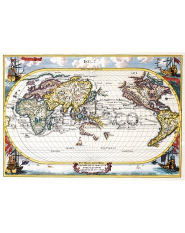 Фотообои, фреска Старинная карта мира, арт. 0053