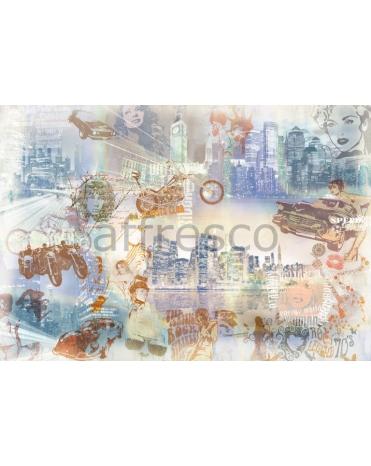 Фотообои, фреска Небоскребы и ретро автомобили, арт. 7080
