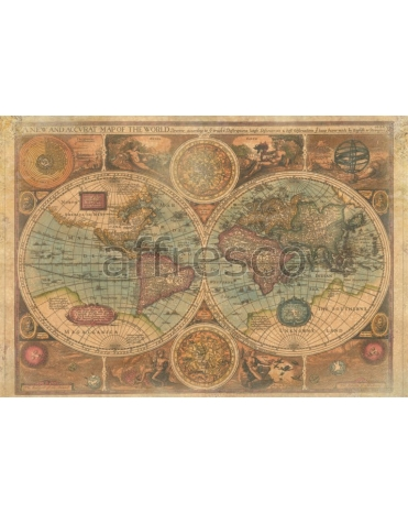 Фотообои, фреска Старинная карта полушарий, арт. 0066