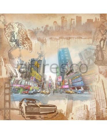 Фотообои, фреска Графический коллаж Нью-Йорка, арт. 7083