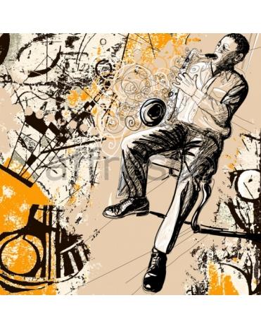 Фотообои, фреска Игра на саксофоне, арт. ID10242