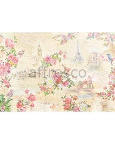 Фотообои, фреска Коллаж цветы города, арт. 7245