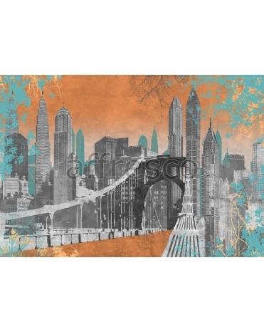 Фотообои, фреска Коллаж с небоскребами, арт. 7110